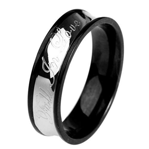 Aokarry Jewelry Men Stainless Steel Ring Promise Anniversary Polished Fall in Love Couple Ring Black Silver Size 9