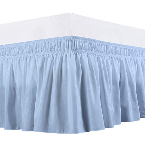 Waletone Linen Three Sides Fabric Wrap Around Elastic Solid Bed Skirt, Easy On/Easy Off 100% Microfiber Dust Ruffled Bed Skirts- Bed Wrap with 21 Inch Tailored Drop (King/Cal-King, Light Blue)