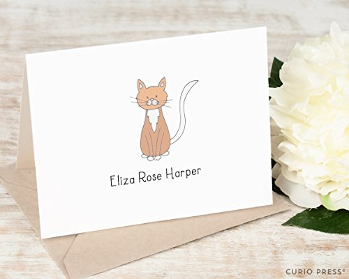 Lined Pointed Flap - DARLING CAT FOLDED - Personalized Animal Stationery / Stationary Notecard Set