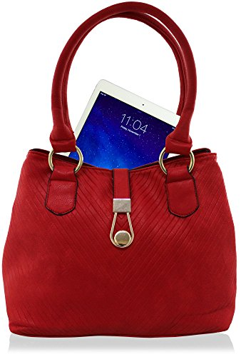 Grooves Designer Handbag Tote Faux Medium Kukubird Black Size Leather txIwdvt0q