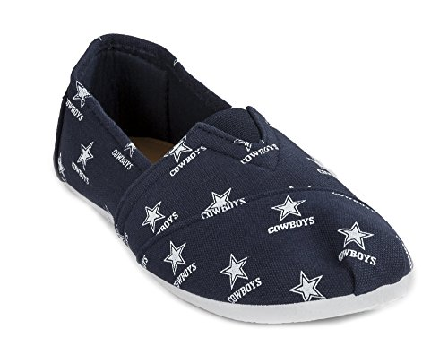 2015 NFL Womens Football Ladies Canvas Slip-On Summer Shoes - Pick Team (Dallas Cowboys, Medium)