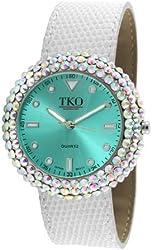 TKO ORLOGI Women's TK618-TW Turquoise White Crystal Leather Slap Watch