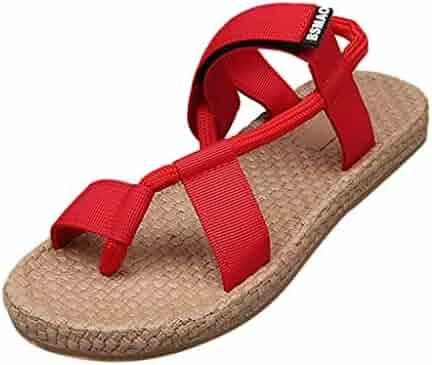c76095f0201c Memela Clearance sale Women Falt Sandals Comfort Simple Basic Ankle Strap Sandals  Heel Sandals Round Toe