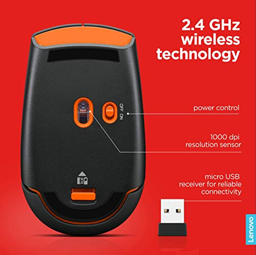 Lenovo 500 Wireless Mouse, Black, 1000 dpi, 2.4 GHz wireless via USB, Streamlined design, Up to 12 months battery life…