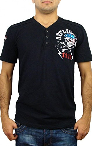 (Affliction Devils Canyon Short Sleeve Henley T-Shirt XXXL Black)