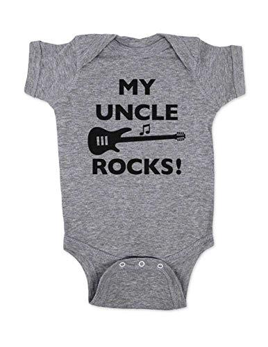 Onesie Baby Rocks T-shirt (My Uncle Rocks Guitar Music Baby Bodysuit Shower Gift Surprise Brother dad Daddy (18 Months Bodysuit, Heather Grey))