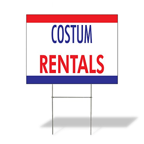 Plastic Weatherproof Yard Sign Costume Rentals 0 Rentals White Costume rentals for Sale Sign Multiple Quantities Available 18inx12in One Side Print One Sign -