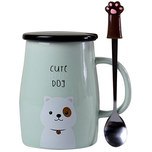 - Angelice Home Cute Dog Mug Dog Coffee Mug Funny Ceramic Coffee Mug with Stainless Steel Spoon, Novelty Coffee Mug Gift for Dog Lovers Coffee Lovers