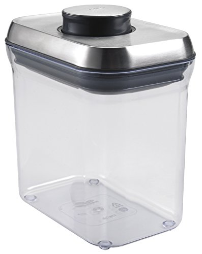 OXO SteeL POP Container – Airtight Food Storage – 1.5 Qt for Snacks and More (Steel Pop)