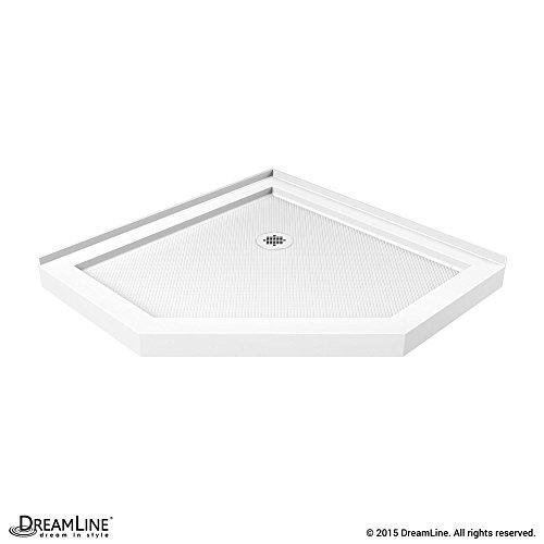 - DreamLine SlimLine 38 in. D x 38 in. W x 2 3/4 in. H Corner Drain Neo-Angle Shower Base in White