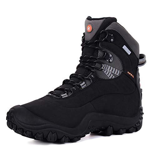 XPETI Women's Thermator Mid High-Top Waterproof Hiking Boot Trekking Hunting Lightweight Outdoor Boot Black 7.5 Terrain Mountain Safety Fashion Shoes