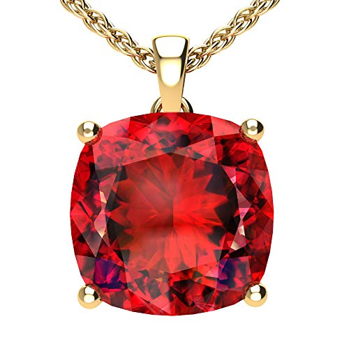 Belinda Jewelz Womens 14k Yellow Gold Cushion Shape Gemstone Rhodium Plated Sparkling Prong Real Sterling Silver Fine Jewelry Classic Chain Hanging Pendant Necklace, 4.5 Ct Created Ruby Pink, 18 Inch