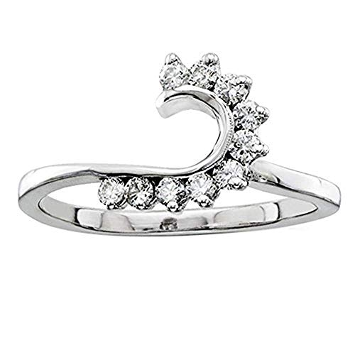 14k White Gold Over 925 Sterling Silver Simulated Lab Created Diamonds Solitaire Swirl Wrap Ring Guard Enhancer 3/8 ct