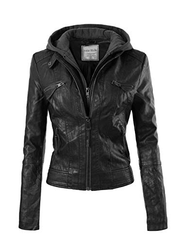 Instar Mode Women's Fashion Motorcycle Faux Leather Hooded Jacket , Ijkw018 Black, ()