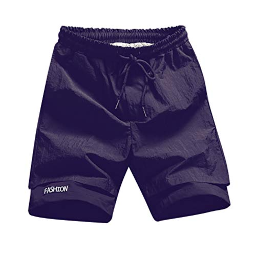 (Simayixx Beach Clothes Men's Sportwear Quick Dry Board Shorts Lining Pockets Trousers Short Pants Big and Tall Trunks Black)