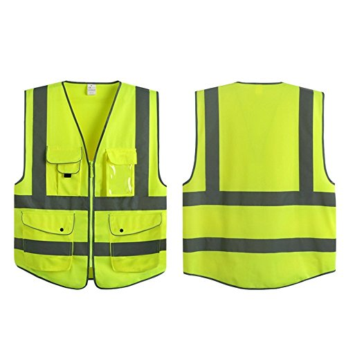 G & F Products 9 Pockets Class 2 High Visibility Zipper Front Safety Vest With Reflective Strips, Yellow Meets ANSI/ISEA Standards (X-Large) by JKSafety (Image #6)