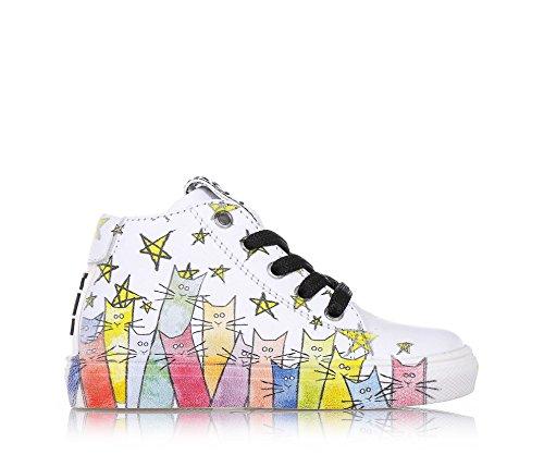 825444bd91b19d BE KOOL - Weißer Schuh Cats Baby mit Schnürsenkeln aus Leder