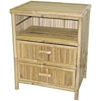 Natural Bamboo Nightstand with 2 Drawers and Shelf
