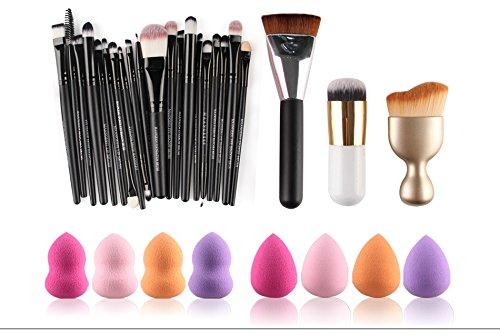 TOPBeauty Pro 23pcs makeup brush With 10pcs Powder Puff by TOPBeauty