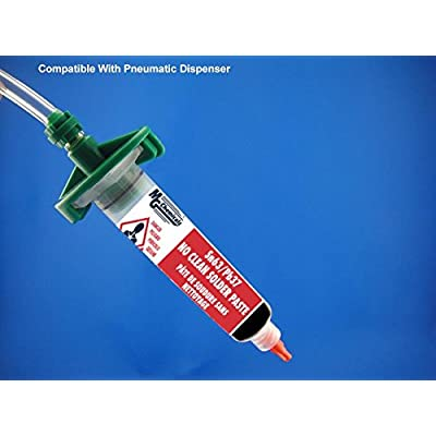 MG Chemicals 4860P 63/37 No Clean, Leaded Solder Paste, 35 g (1.2 oz) Pneumatic Dispenser (Complete with Plunger & Dispensing Tip): Industrial & Scientific