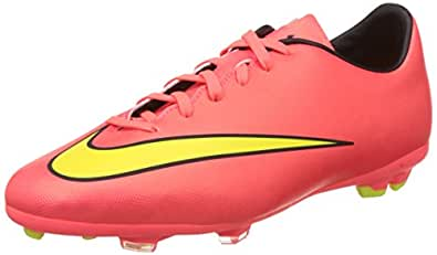 Nike Kids Jr Mercurial Victory V FG Hypr Punch/Mtlc Gld Cn/Blk/Vlt Soccer Cleat 1 Kids US