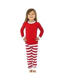 CeRui Family Christmas Kid Mom Dad Striped Matching Family Pajama Set Sleepwear