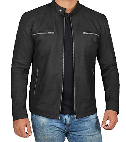 Decrum Mens Black Leather Moto Jacket | Rogers