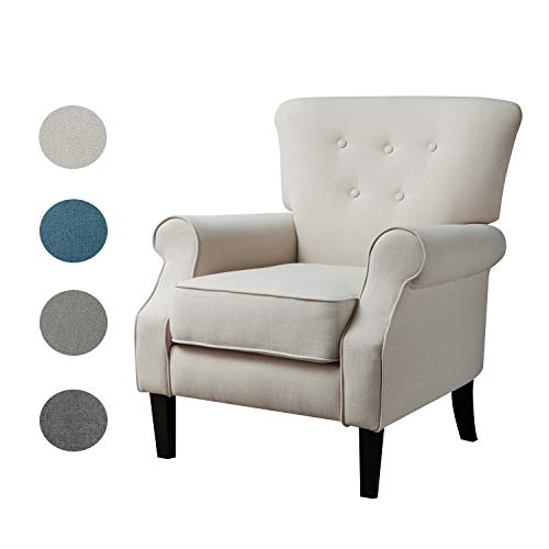 Top Space Accent Chair Sofa Mid Century Upholstered Roy Arm Single Sofa Modern Comfy Furniture for Living Room,Bedroom,Club,Office (1 PCs, White)