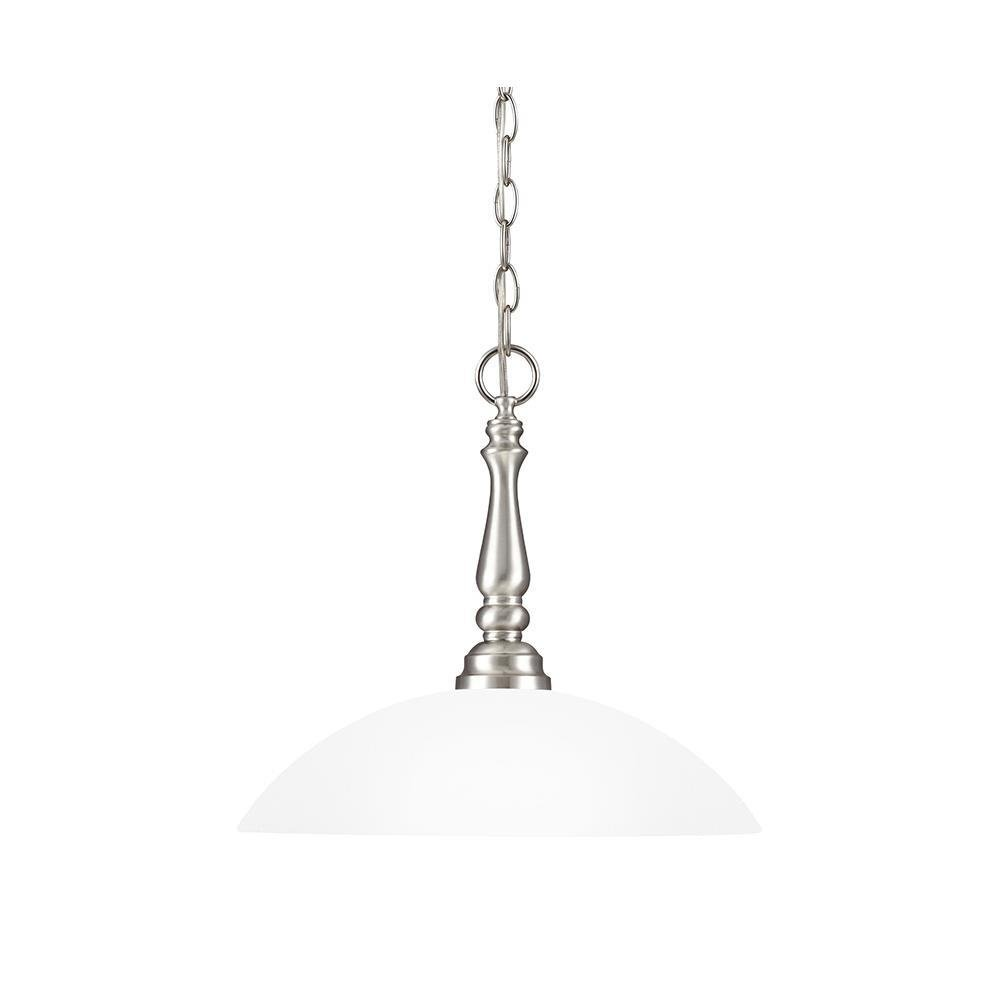 Sea Gull Lighting 6512401-962 Northbrook - One Light Pendant, Brushed Nickel Finish with Satin Etched Glass