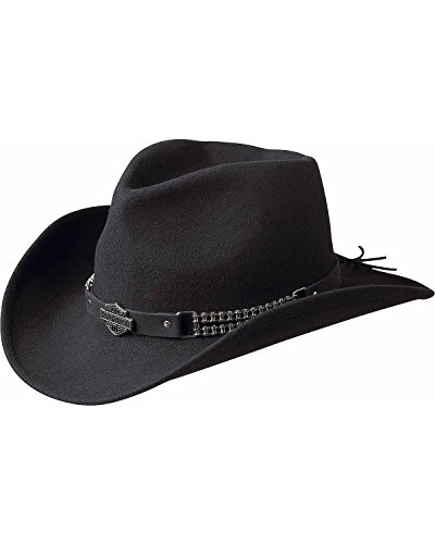 Harley-Davidson Men's Chain Band Bend-A-Brim Wool Felt Crushable Cowboy Hat Black Medium ()