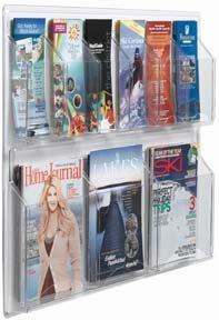Clear-Vu Horizontal Pocket Magazine & Pamphlet Holders Number of Pockets: 9 Pockets - 9 Pocket Magazine Display