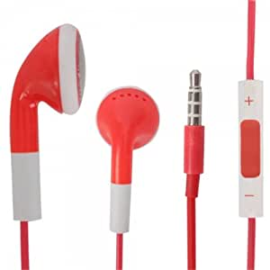 Red 3.5mm Stereo Fashion Earphone Headsets with Volume Control & Microphone for Micromax A80 Superfone Infinity (By Things Needed)