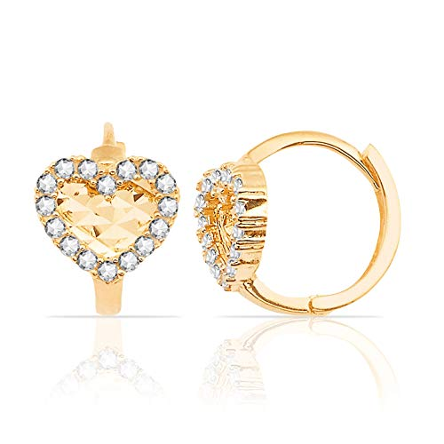 (Heart with CZ Halo Huggie Hoop Earrings in 14K Yellow Gold for Small Girls)
