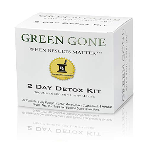 Green Gone 2 Day THC (Marijuana) Detox Kit - Permanent Cleanse, (for Light Usage) with 5 THC Test Strips! (Best Detox Cleanse For Thc)