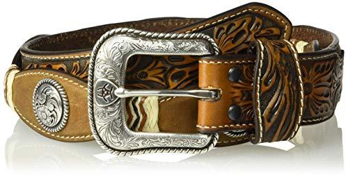 Ariat Men's Scaloped Circle Concho Rawhide Belt, brown 42 ()