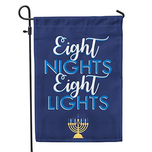 Second East Eight Nights Eight Lights Garden Flag Outdoor Patio Seasonal Holiday Fabric 12 X 18