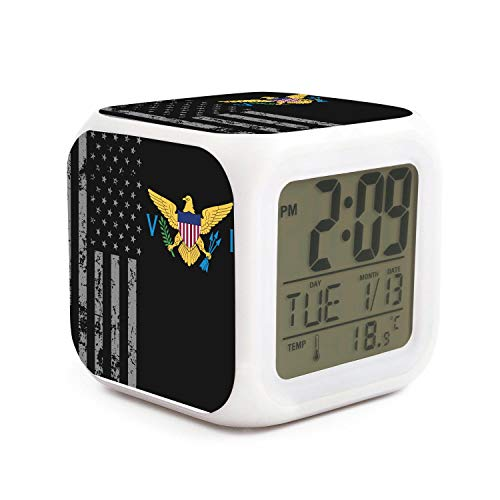 Led Alarm Clock US Virgin Islands Flag Personality Creative Noiseless Multi-Functional Electronic Desk Table Digital Alarm Clock for Unisex and Toy -