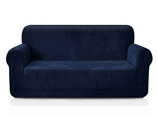 CHUN YI 1-Piece Coral Fleece Spandex Fabric Polyester Loveseat Couch Slipcover Soft and Stretch Sofa Cover Furniture Protector for 2 Seats Love seat Sofa (Loveseat, Dark Blue)