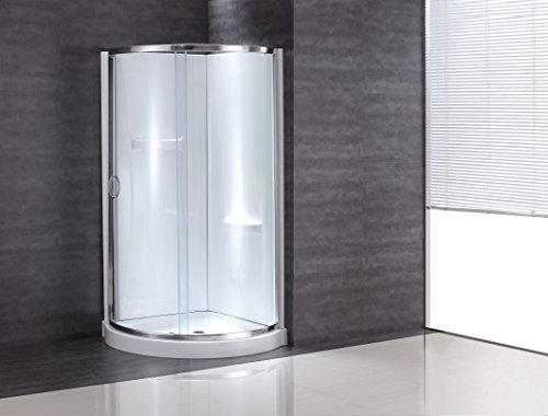 Ove Decors Breeze-31-withwalls Premium 31-Inch Shower Kit with Acrylic Base and Walls and Clear Glass Sliding Door