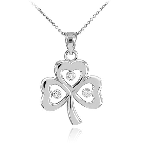 14k White Gold Shamrock Charm Three Diamond Clover Leaf Pendant Necklace, 18""