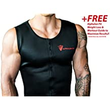 Alphalon Fit Men's Premium Waist Trainer Vest | Fat Burning, Neoprene Shirt, Hot Sauna, Tank Top, Body Shaper, Belly Trimmer, Belt, Corset, Sweat | Maximize Results with a Free Weight Loss Guide!