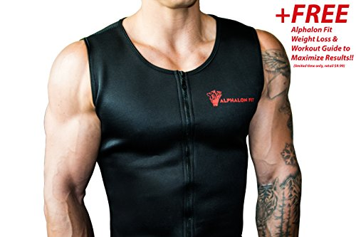 Alphalon Fit Men's Premium Waist Trainer Vest | Fat Burning, Neoprene Shirt, Hot Sauna, Tank Top, Body Shaper, Belly Trimmer, Belt, Corset, Sweat | Maximize Results with a Free Weight Loss Guide!