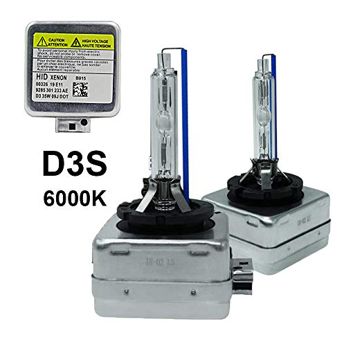 D3S - 6000K - 35W Xenon HID Headlight Replacement Bulbs, Dinghang High And Low Beam Hid Headlights (2pcs) (D3S, 6000K)