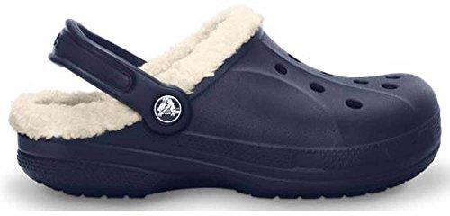 Crocs Feat pelusa - Zuecos forrados unisex - Cálido y zuecos Para Navy/Oatmeal
