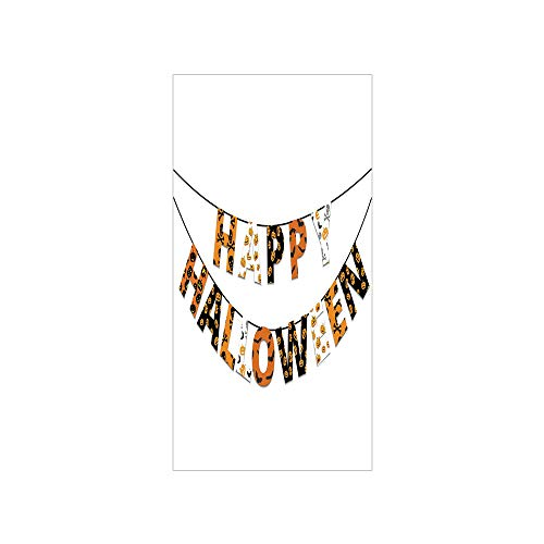 Decorative Privacy Window Film/Happy Halloween Banner Greetings Pumpkins Skull Cross Bones Bats Pennant Decorative/No-Glue Self Static Cling for Home Bedroom Bathroom Kitchen Office Decor Orange Black -