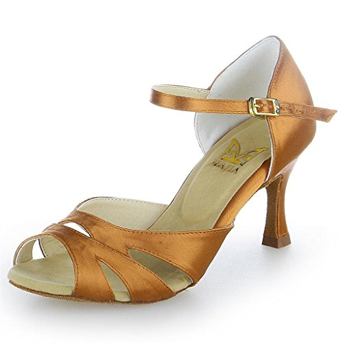 Jia Jia Y2055 Latin Women's Sandals 2.7'' Flared Heel Super Satin Dance Shoes Tan Color