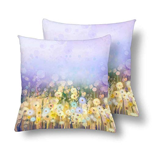 (Royalreal Oil Painting Dandelion Flower Field Meadow Landscape Wildflower Throw Pillow Cover Decorative Durable Cushion Cover Set of 2 26x26inch Soft Linen Pillowcase for Sofa Couch Bedroom)