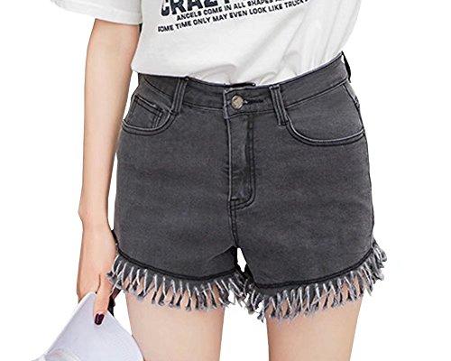 Wxian Women's Mid Waist Irregular Ripped Hole Jeans Shorts Secret Fit Belly Cuffed Short