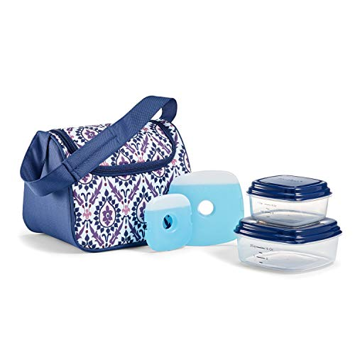 Fit & Fresh Costa Mesa Insulated Lunch Bag Kit with BPA-Free Containers, Floral Damask Purple