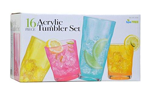 16 Piece Acrylic Tumbler Set - 14 & 22 - Tumbler 16 Piece